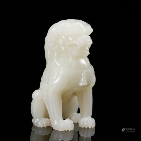 CHINESE WHITE JADE CARVED BEAST, QING DYNASTY