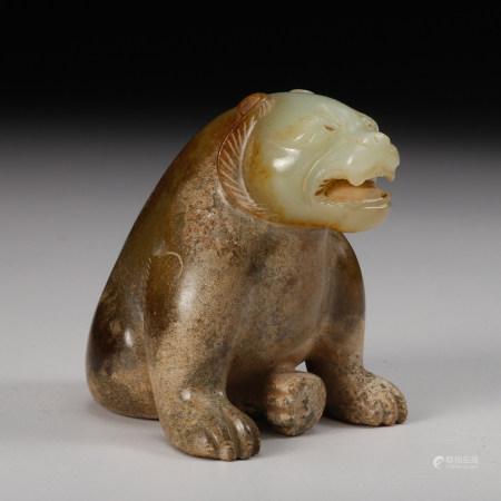 CHINESE CELADON JADE BEAR