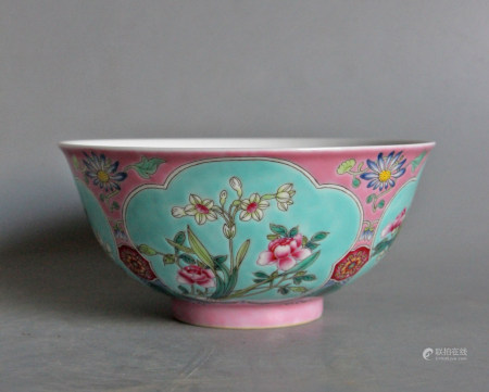 QING DYNASTY ENAMELED PORCELAIN BOWL WITH MARK