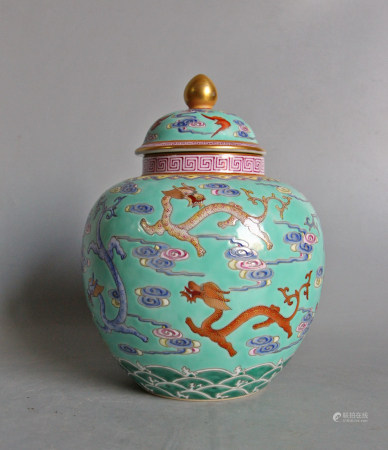 FAMILLE ROSE PORCELAIN COVER JAR