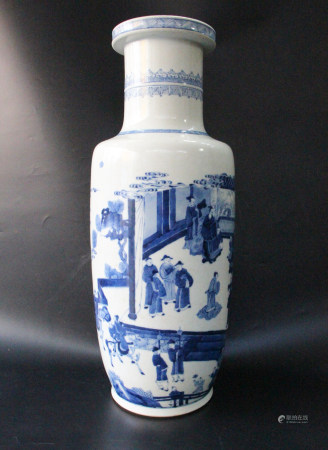 BLUE WHITE FIGURINE ROULEAU VASE WITH MARK