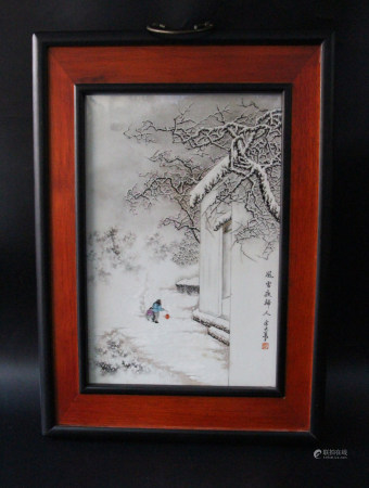 PAINTED PORCELAIN PLAQUE, SNOW SCENE