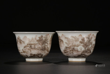 PAINTED PORCELAIN TEACUPS, QIANLONG MARK