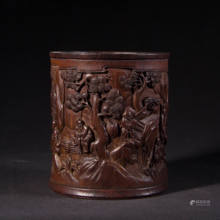 BAMBOO BRUSH POT, REPUBLIC PERIOD