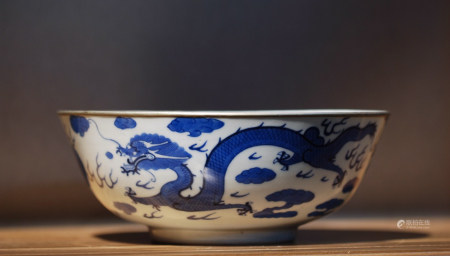 BLUE WHITE PORCELAIN BOWL, QING DYNASTY