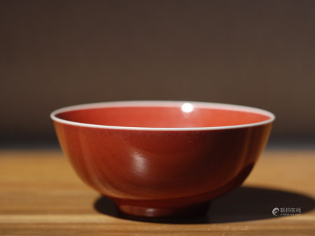 OX BLOOD GLAZED PORCELAIN BOWL, QING DYNASTY