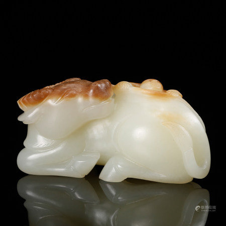 CHINESE WHITE JADE CARVED OX, QING DYNASTY