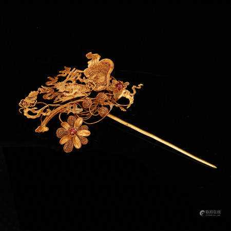 CHINESE PURE GOLD FLOWER HAIR PIN, QING DYNASTY