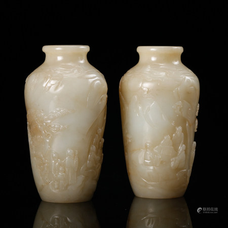 CHINESE WHITE JADE VASES, PAIR, QING DYNASTY