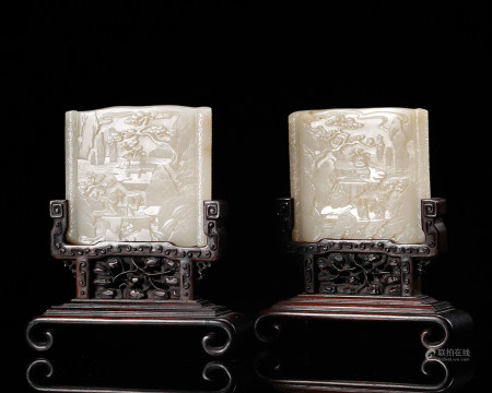 CHINESE WHITE JADE TABLE SCREENS, QING DYNASTY