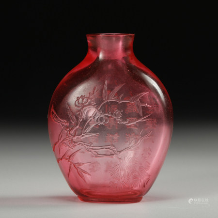 CHINESE PEKING GLASS SNUFF BOTTLE, QING DYNASTY