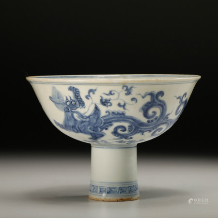 CHINESE BLUE WHITE DRAGON BOWL, QING DYNASTY