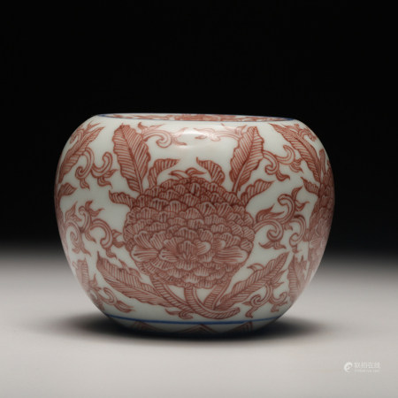 CHINESE IRON RED PORCELAIN JAR, QING DYNASTY