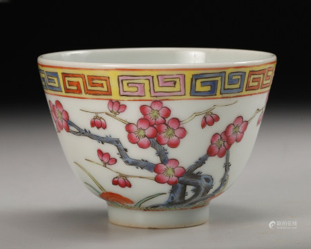 CHINESE FAMILLE ROSE BOWL, QING DYNASTY