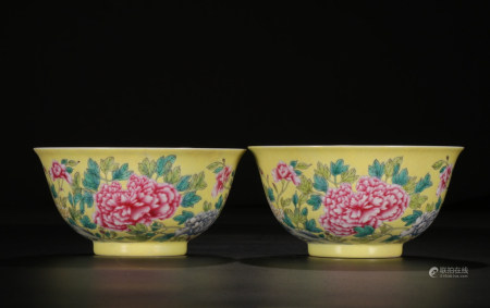 FAMILLE ROSE PORCELAIN BOWLS, PAIR, QING DYNASTY