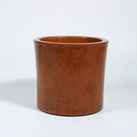 HUANGYANG WOOD BRUSH POT, QING DYNASTY