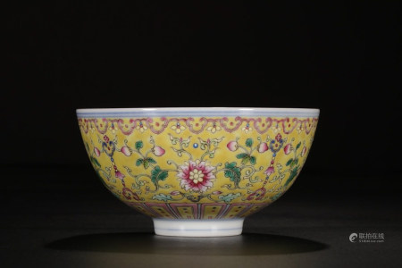 FAMILLE ROSE PORCELAIN BOWL, QING DYNASTY