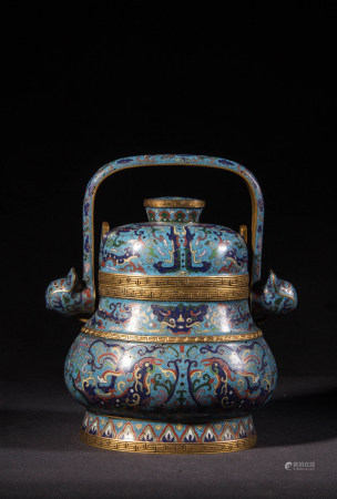 CLOISONNE ARCHAIC STYLE FOOD VESSEL, QING DYNASTY