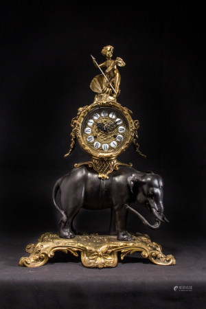 BRONZE CLOCK ON ELEPHANT