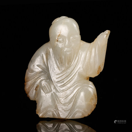 CHINESE WHITE JADE CARVED SCHOLAR, QING DYNASTY