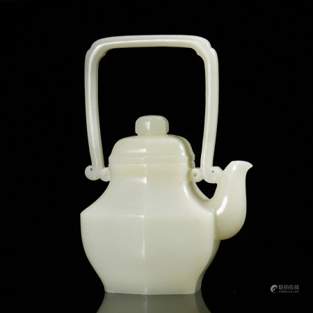 CHINESE WHITE JADE TEAPOT W. HANDLE, QING DYNASTY