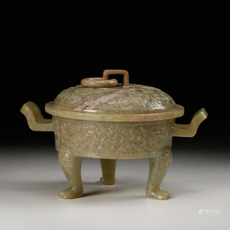 CHINESE CELADON JADE ARCHAIC STYLE COVER CENSER