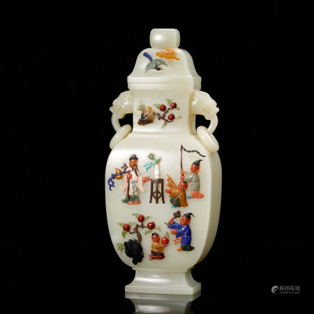 CHINESE WHITE JADE COVER VASE, QING DYNASTY
