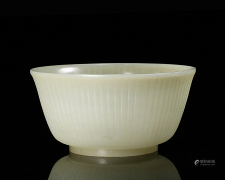 CHINESE WHITE JADE CARVED BOWL, QING DYNASTY