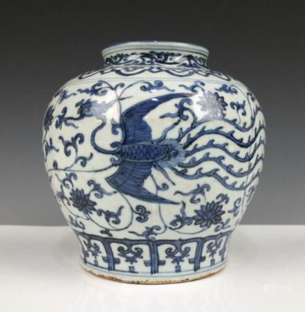 BLUE WHITE PHOENIX PORCELAIN JAR