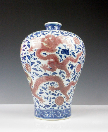 BLUE WHITE IRON RED MEIPING VASE, QING DYNASTY
