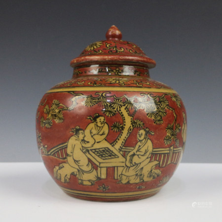 RED AND YELLOW GROUND PORCELAIN JAR, MING DYNASTY