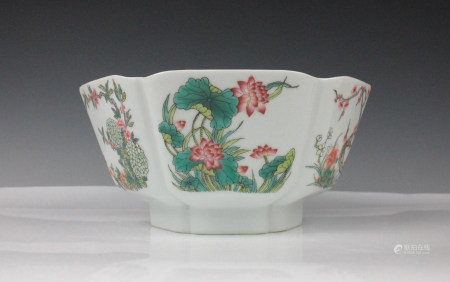 FAMILLE ROSE PORCELAIN BOWL WITH MARK, QING DYNAST