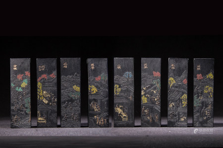 CHINESE INK STICKS, SET OF 8, QING DYNASTY