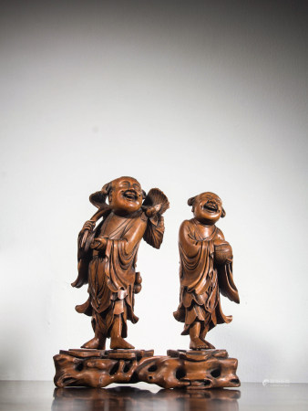 HUANGYANG WOOD CARVED FIGURINES, QING DYNASTY