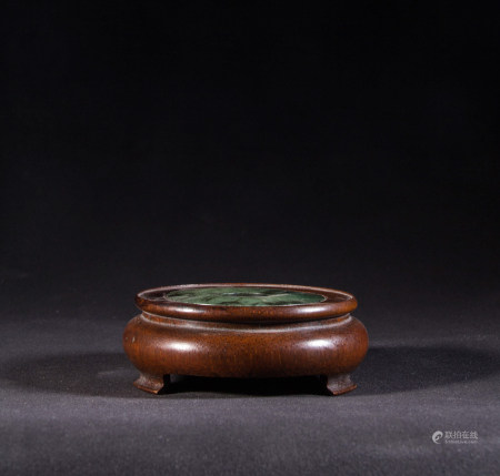 BAMBOO STAND WITH JADE BI DISK