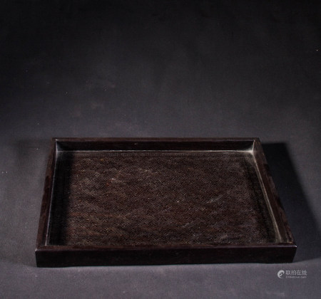 ZITAN WOOD TRAY WITH SILVER WIRE INLAY