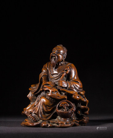 BAMBOO CARVED FIGURINE, WITH MARK
