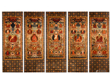 BUDDHIST EMBROIDERY THANGKA, SET OF 5, QING DYNAST