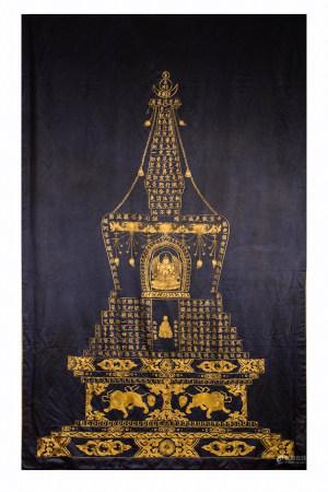 GOLD THREAD BUDDHIST SILK EMBROIDERY