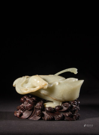 CELADON JADE WATER COUPE, QING DYNASTY