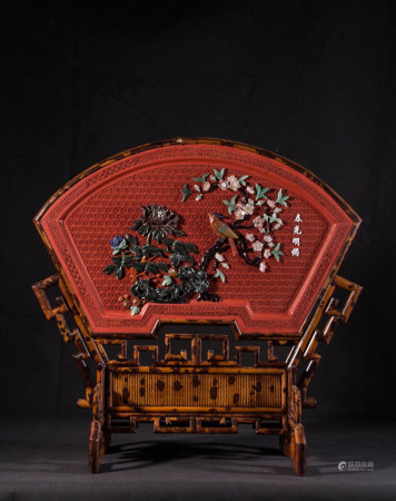 FAN SHAPED CINNABAR LACQUER TABLE SCREEN