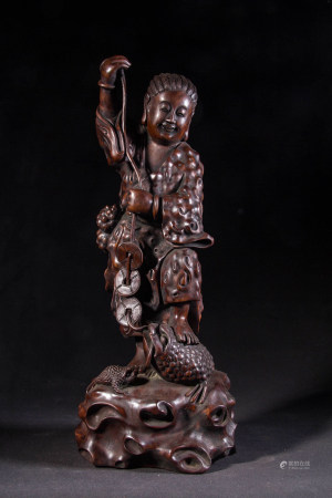 LONGAN WOOD CARVED BOY LIUHAI