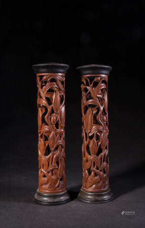 HUANGYANG WOOD INCENSE TUBES, PAIR