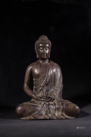 CHINESE CHENXIANG WOOD CARVED SHAKYAMUNI