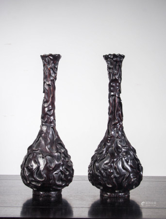 ZITAN WOOD VASES, PAIR