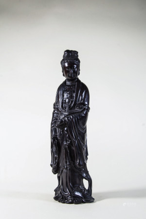 ZITAN WOOD CARVED GUANYIN