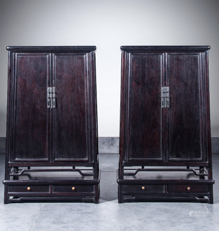 CHINESE MINIATURE ZITAN WOOD CABINETS, PAIR