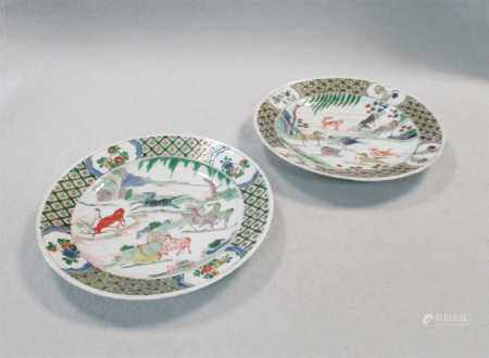 A Pair of Chinese famille verte porcelain plates, Qing Dynasty, Kangxi (1662-1722),