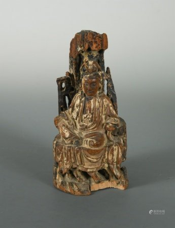 A Chinese carved wood figure of Guanyin, Qing Dynasty, late 17/18th century,