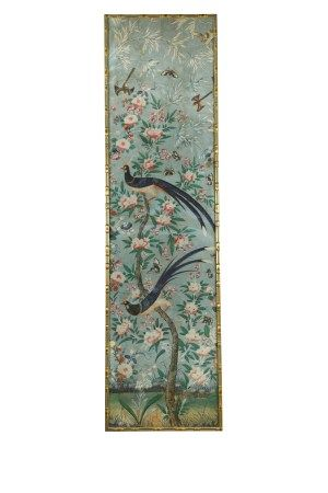A framed panel of 18th century Chinese painted wall paper,